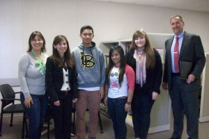 Monica Huyck, Delano Tutor Coordinator; BC President Sonya Christian; BC Peer Tutors Don Agbayani, Monique Escorpiso and Iris Llamas; and Delano Director Richard McCrow