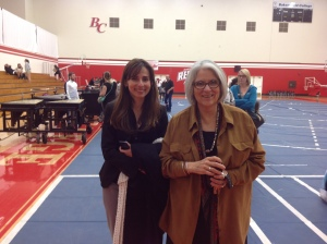 Sonya Christian and Nan Gomez-Heitzeberg after the Drumline performance on March 21, 2013 at the Bakersfield College gym.