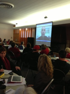 College Council sponsored Study Series. March 1, 2013Manny Mourtzanos presenting to the group via video