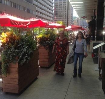 Pam and Sonya walking downtown Toronto