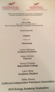 Program for Energy Academy Graduation August 11 2016