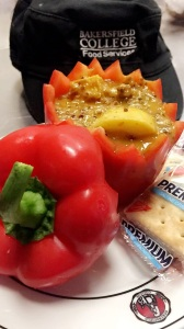 "Coconut Quinoa Chicken Soup in a bell pepper ""bowl"""