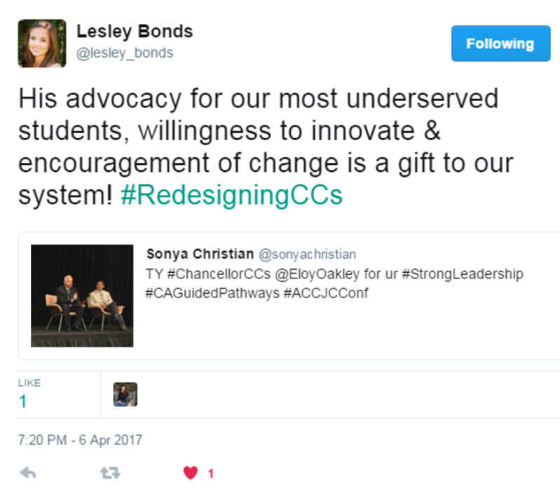 Eloy Oakley at ACCJC Conf April 6 2017