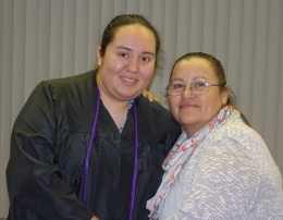Student Diana Alvarez and her mother