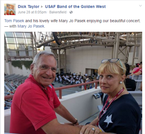 Dick Taylor recognizing Mary Jo Pasek on Facebook