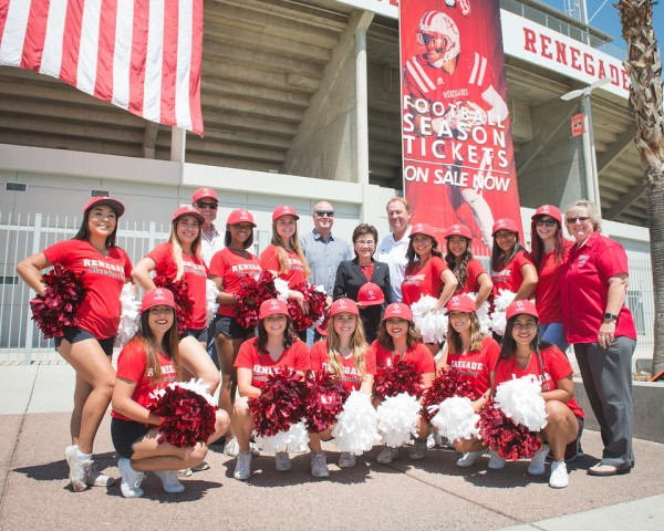 Dignitaries with cheer team Aug 8 2017