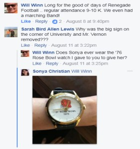 Facebook post about Rosebowl Watch