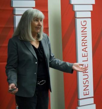 Janet Fulks presenting to Tom Epstein