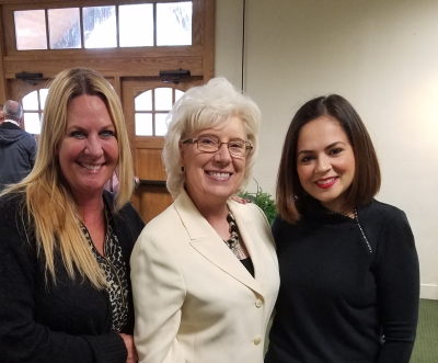 Kimberly Bligh, BC faculty director, Senator Jean Fuller, and Isabel Castenada, BC Education Advisor enjoyed catching up on BC Pathways initiative
