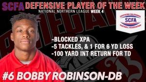 Robinson names SCFA Defensive Player of the week