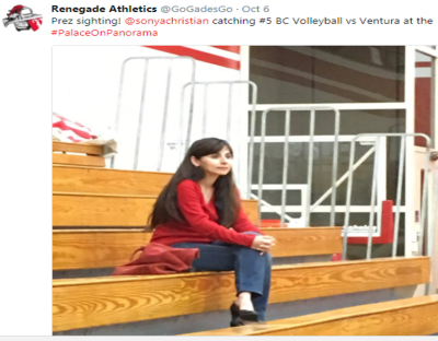 Gogades Tweet Oct 5 2017 about Sonya Christian watching volleyball game