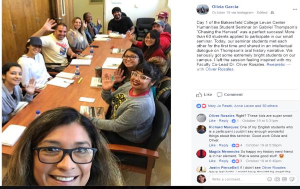 Olivia Garcia October 19 2017 about History Seminar