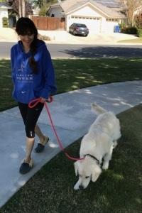 Sonya Christian walking Neo October 28 2017 cropped