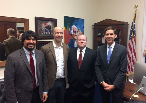 Oliver Rosales, Josh Ottum, Andrew Bond, and Trevor Smith in McCarthy's Office