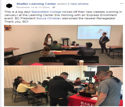Shafter Learning Center Facebook Nov 2017