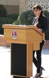 Sonya Christian at the podium