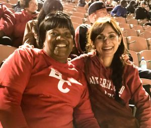 Sonya Christian with Elijah Ortiz' mom at Patriotic Bowl in Long Beach