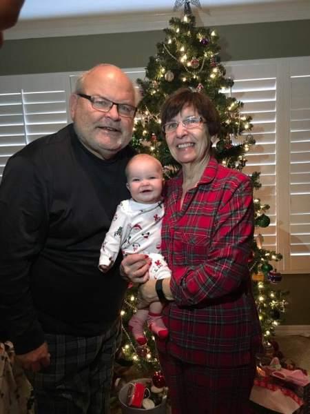 Michael Turnipseed, Nancy Turnipseed and Hattie their randdaughter on Christmas 2018