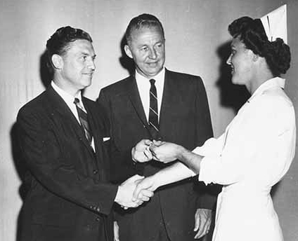 Nursing_RegisteredNurseGradSpring1960_GlennBultman, Ed Simonsen, Pearl Wassen