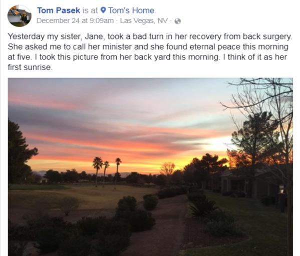 Tom Pasek关于他妹妹的188bet asia app帖子2017年12月.png