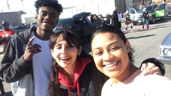 Sonya Christian selfie with Kimborough's students Destiny and Michael