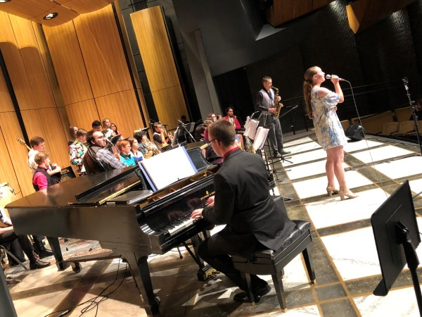 Taft High School Jazz Ensemble performs in the Indoor Theater