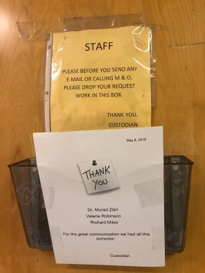 Signs from the Custodian to Communication and staff.