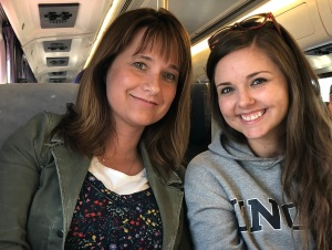 Jessica Wojtysiak and Lesley Bonds riding the train May 14 2018