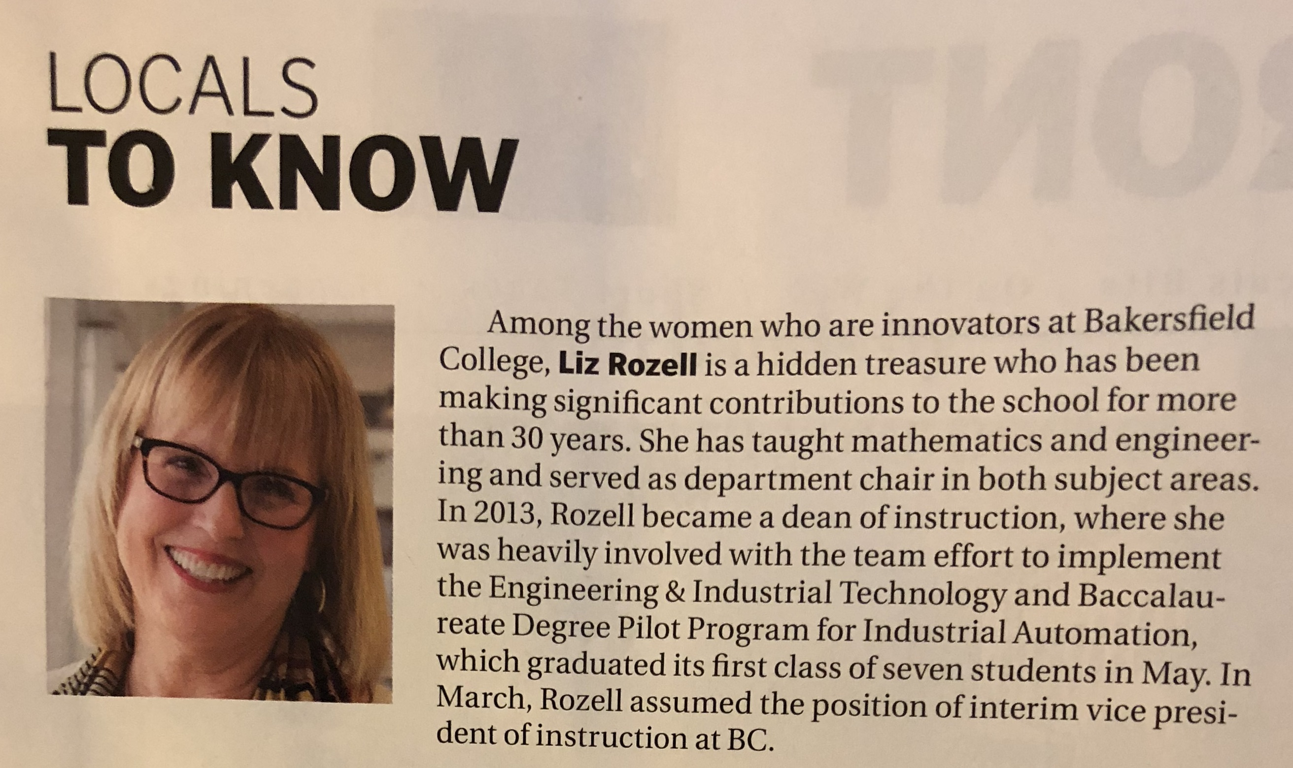 Liz Rozell in Bakersfield Life Magazine May 18 2018