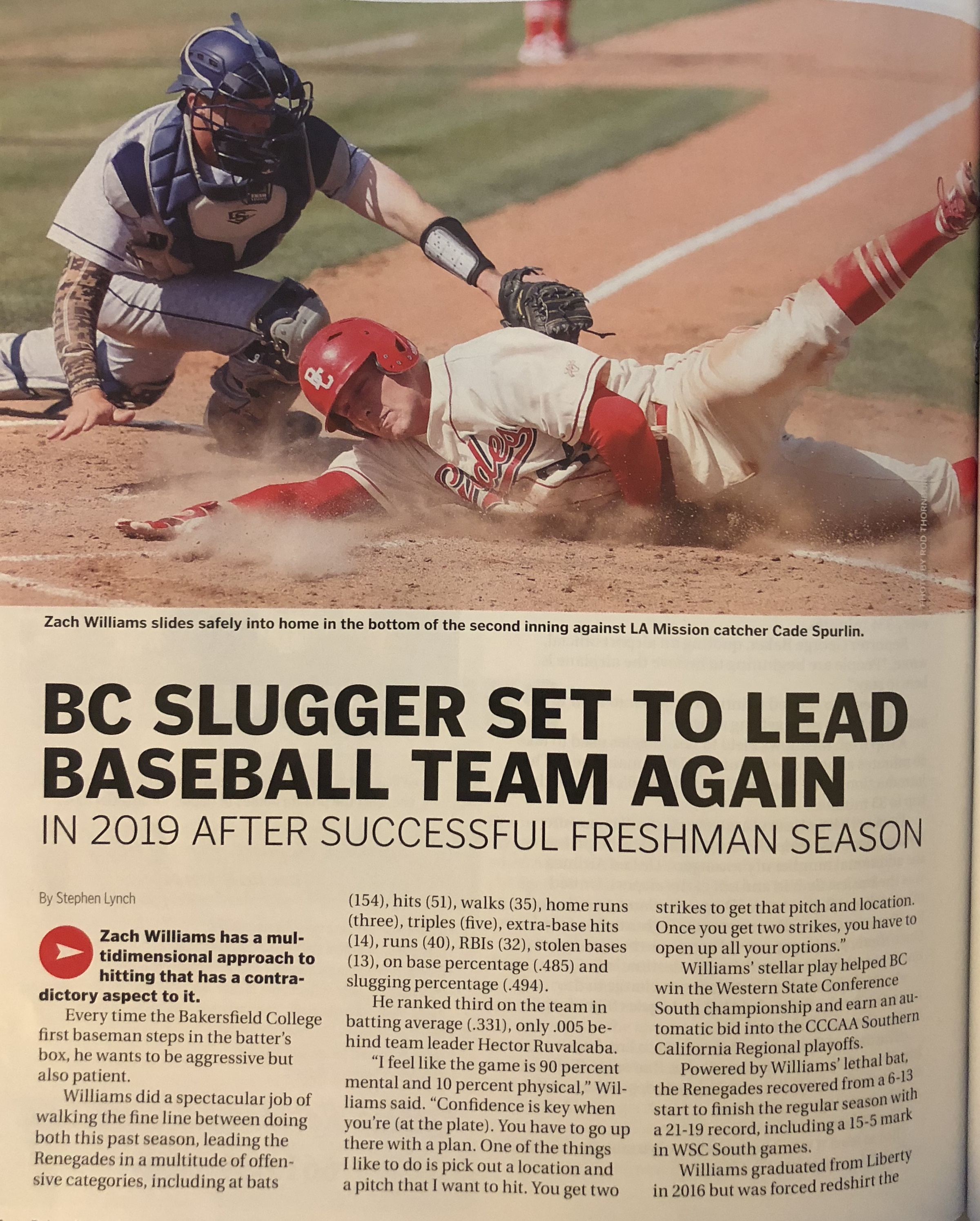 Zach Williams Renegade Baseball Athlete in Bakersfield Life May 26 2018