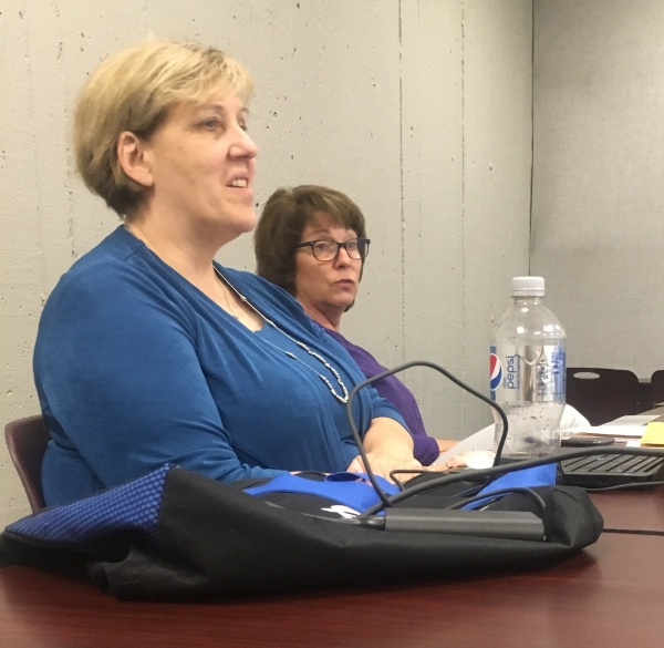 two ladies speaking at meeting