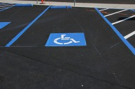 newly paved and striped disabled parking space