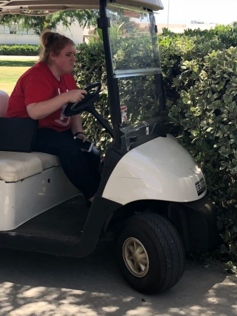 Monika Scott driving a cart and crashing into the bushes June 27 2018