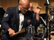Staff Sergeant Freddie Cruz playing drums