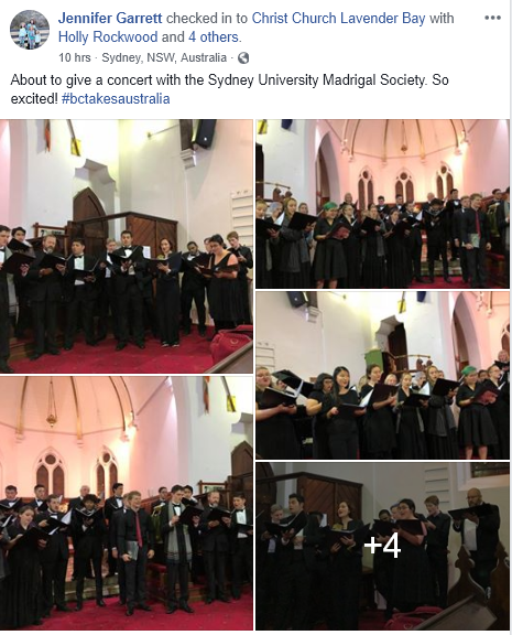 Jen Garrett FB Sydney Univeristy Madrigal Society