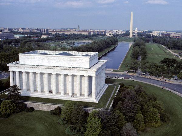 华盛顿林肯纪念堂纪念碑