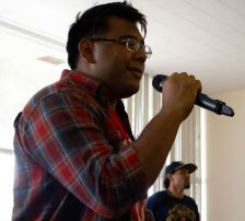 Francis Benavente performs Waterfalls by TLC during the Karaoke Knights event on August 27th in the Fireside Room