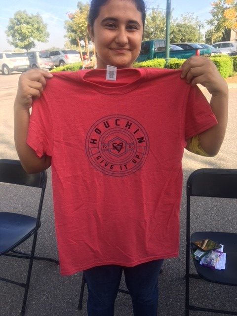 Natalie Bustamante with her new shirt.