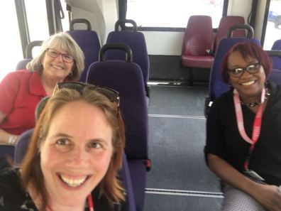 Anna Levan, Debi Anderson, and Angela Williams trying out the Renegade Express Shuttle.