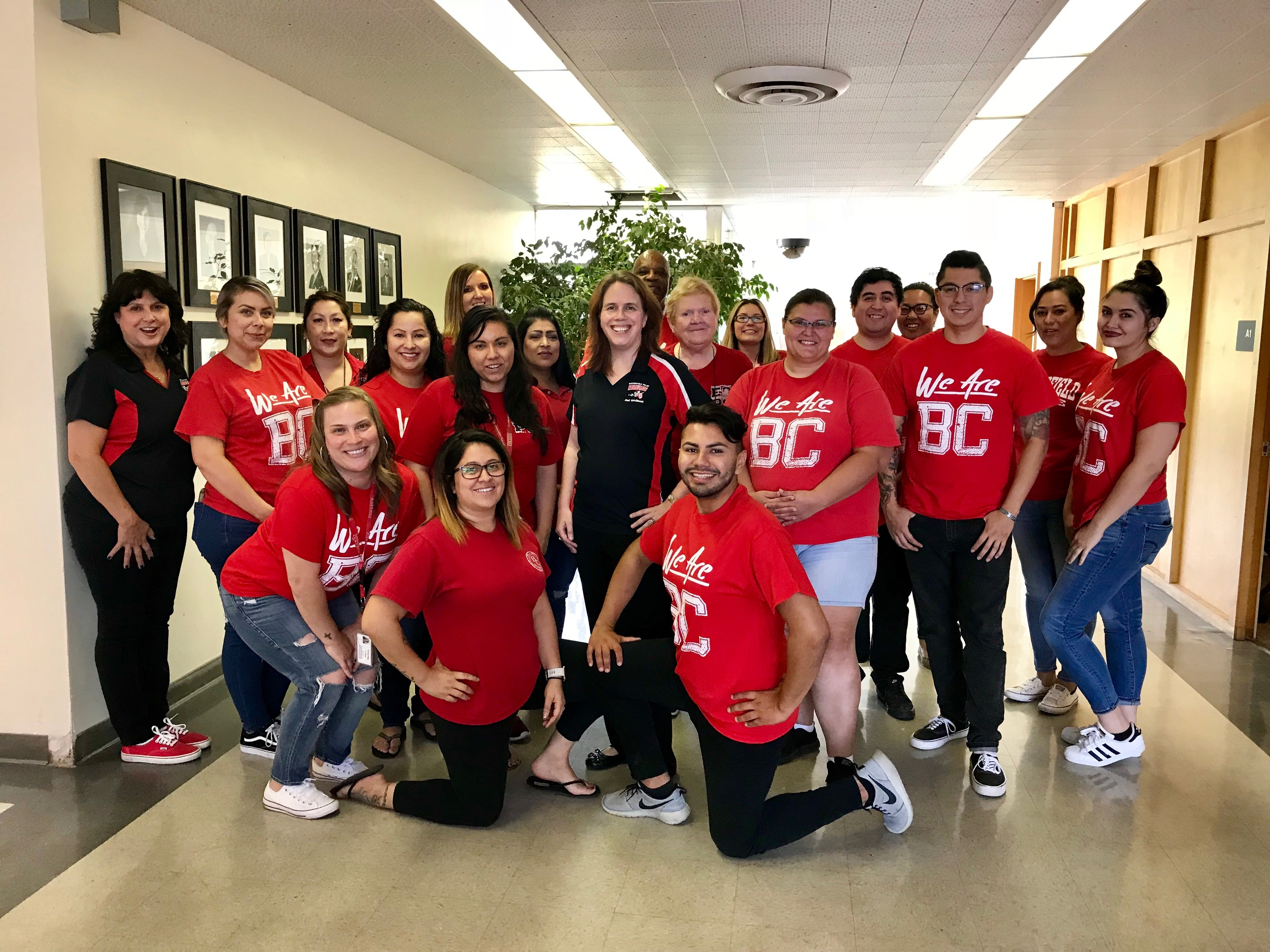 The Administration Building staff proudly showed off their BC red today