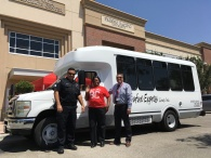 The Renegade Express in action. Here is one of our drivers, Chamese, with Fernando and Officer Rios.