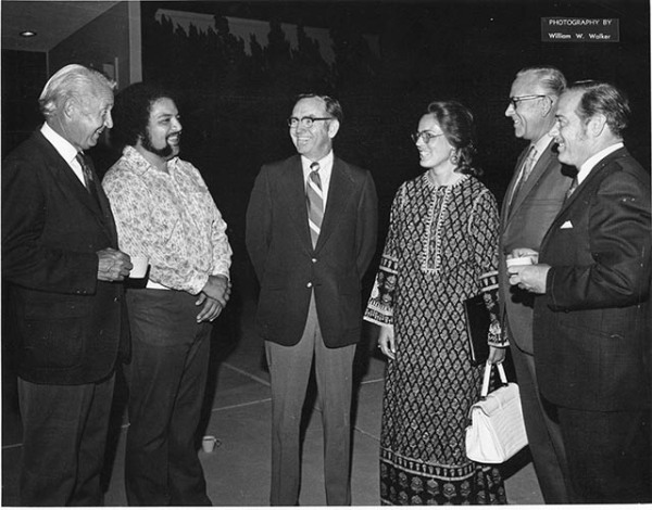 1973 From Left Ed Simonsen Chancellor, Vernon Valenzuela Faculty, John Collins President, Phyllis Mallory Faculty, Loren Voth Trustee, Cecil Bailey Trustee