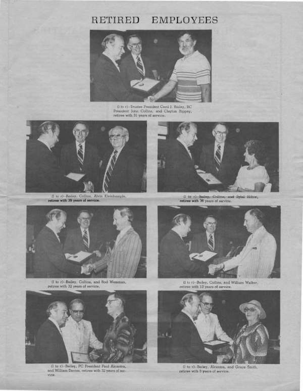 1980 Photos of John J. Collins and Cecil J. Bailey with retiring employees Clayton Rippey, Alvin Kleinhample, Sybil Hilton, Rod Wessman