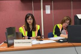Sonya Christian and Jennifer Serratt at the Incident Command center