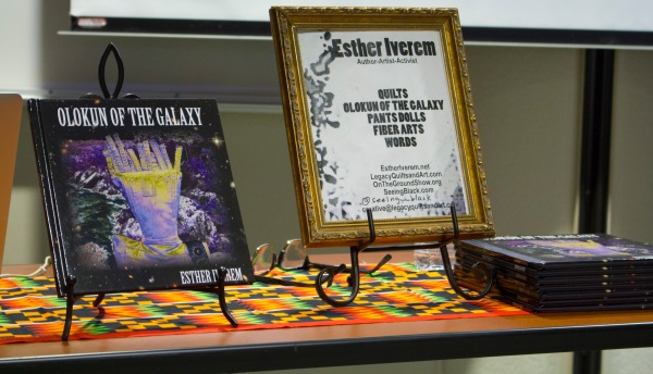 Olukun of the Galaxy book cover and Esher Iverem Author-artist activist, quilts, Olokun of the Galxy, Pantsdolls, Fiber Arts, Words