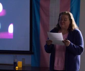 Professor Helen Acosta speaks during the event.