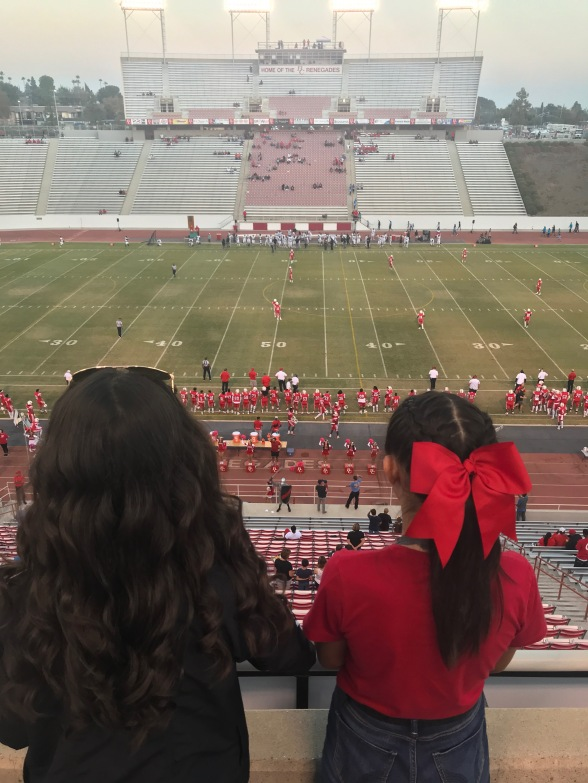 Girl with big red ribbon in her hair overlooking the stadium and field during game