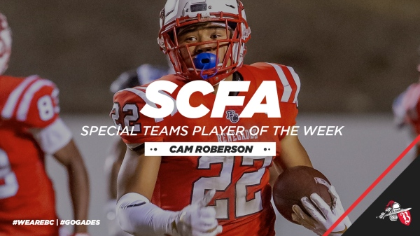 Cam Roberson has been named SCFA Special Teams Player of the Week