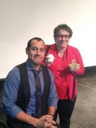 Oz Sachez with Terri Goldstein & his Olympic gold medals.