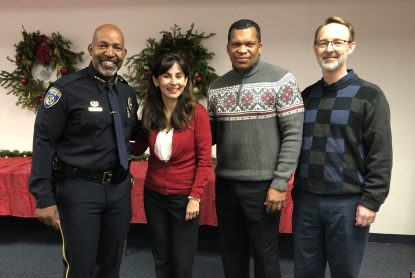 Chief Lyle Martin, Sonya Christian, Fred Prince, and student